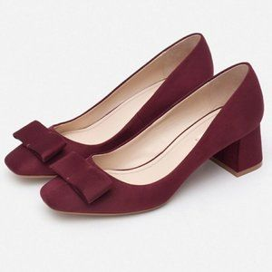 Zara Basic Collection Faux Suede Bow Front Pumps